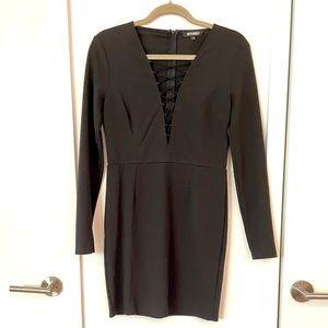 Missguided Black Low Cut Long Sleeve Dress size 12